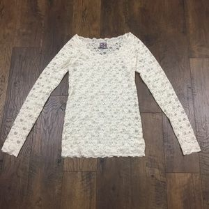 Free People cream lace long sleeve top